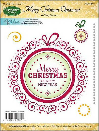 SO: JustRite Papercraft Mini Cling Stamp Set 3.5x4 - Merry Christmas Ornament 6pc