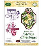 JustRite Cling Stamp Set 3.5x4 - Bells of Christmas 4pc Vintage Labels Two