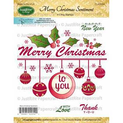 SO: JustRite Cling Stamp - Merry Christmas Sentiment