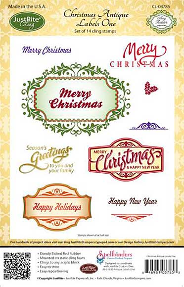 JustRite Cling Stamp - Christmas Antique Labels One