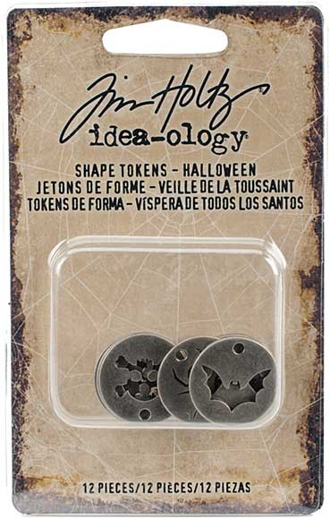 SO: Idea-Ology Metal Tokens, Antique Nickel Halloween Shapes (12pk)