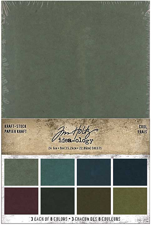 Idea-Ology Kraft-Stock Stack Cardstock Pad 6x9 24pk - Cool, 8 Colours