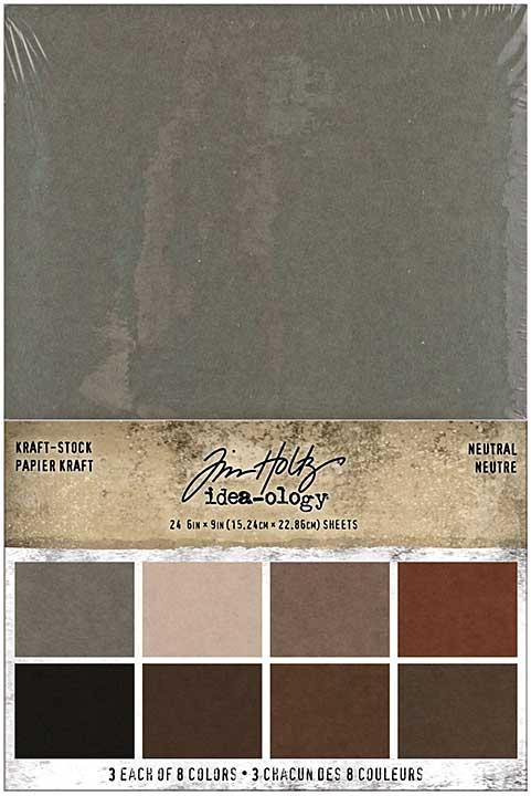 Idea-Ology Kraft-Stock Stack Cardstock Pad 6x9 24pk - Neutral, 8 Colours