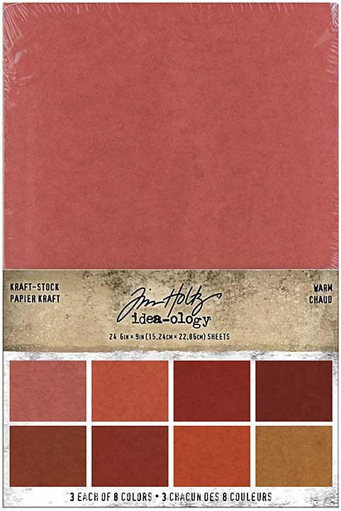 Idea-Ology Kraft-Stock Stack Cardstock Pad 6x9 24pk - Warm, 8 Colours