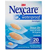 Nexcare Waterproof Bandages 20pk - Assorted Sizes