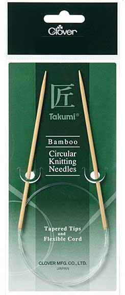Clover Takumi Bamboo Circular Knitting Needles (tapered tips, flexible cord) (60cm 4mm)