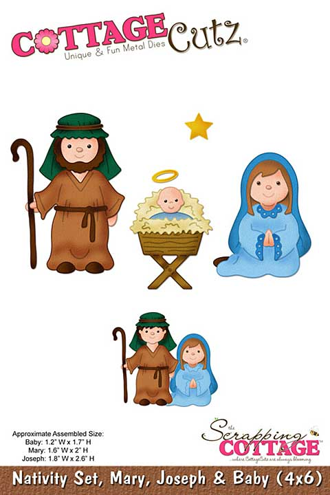 Cottage Cutz - 4x6 Cutting Die - Nativity Set, Mary, Joseph and Baby