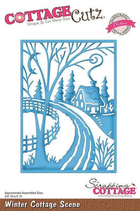 Cottage Cutz Elites Die - Winter Cottage Scene