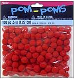 Darice 100 Red Pom-Poms (0.5inch)