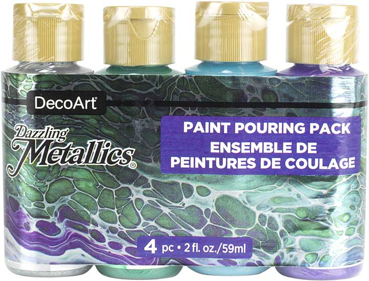 DecoArt Dazzling Metallics Paint Pouring Pack 4pk - Jewel Tone