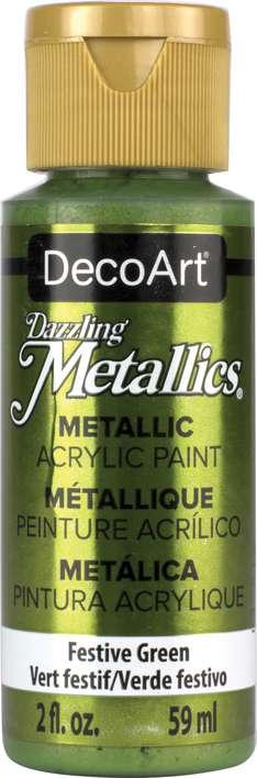 DecoArt Dazzling Metallics Acrylic Paint 2oz - Festive Green