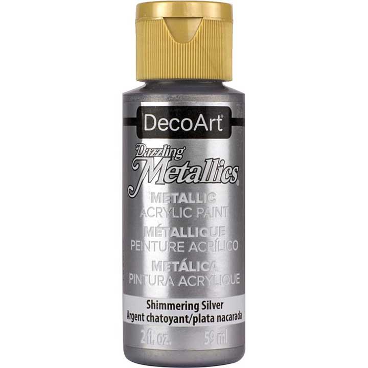 DecoArt Dazzling Metallics Acrylic Paint - Shimmering Silver