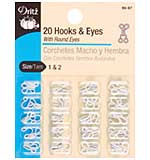 Dritz Hooks and Eyes 20pk - White Size 1 and 2