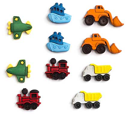 SO: Jesse James Dress It Up Buttons - Things that go Zoom (10 pc)