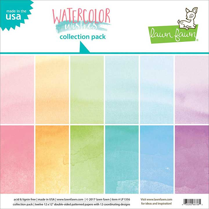Lawn Fawn Watercolor Wishes -12x12 Double-Sided Paper Pack 12pk (6 Designs, 2 Each)