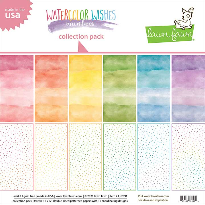 Lawn Fawn Double-Sided Collection Pack - Watercolor Wishes Rainbow, (6 Designs, 12x12x 12pk)