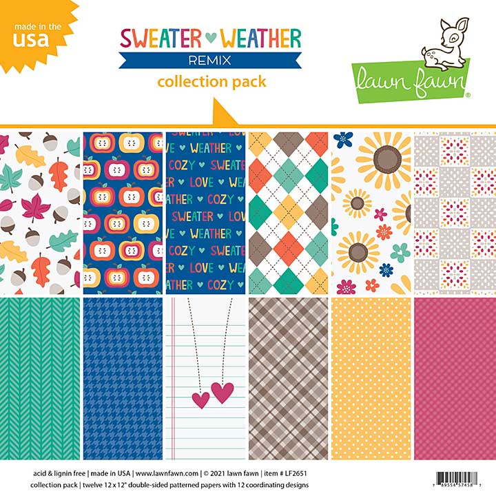 Lawn Fawn Double-Sided Collection Pack 12x12 12pk - Sweater Weather Remix, 6 Designs
