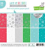 Lawn Fawn Single-Sided Petite Paper Pack 6x6 36pk - Let It Shine Snowflakes, with Silver Foil