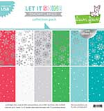 Lawn Fawn Double-Sided Collection Pack 12x12 12pk - Let It Shine Snowflakes, with Silver Foil
