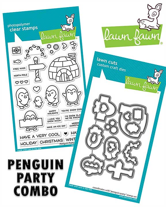 Lawn Fawns Penguin Party Combo - Stamp and Matching Die Set