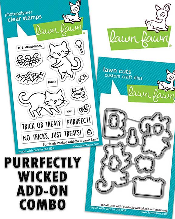 Lawn Fawns Purrfectly Wicked Add-On Combo - Stamp and Matching Die Set