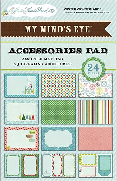 SO: MME Winter Wonderland Accessories Pad 4x6 (24 sheets Assorted Mats,Tags,Journaling Shapes)