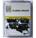 Nellie Snellen Floral Glitter Brads - Black