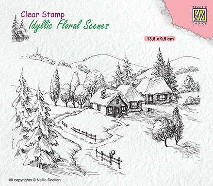 SO: Nellie Snellen Clear Stamp Idyllic Floral Scenes - Idyllic Wintery Scene