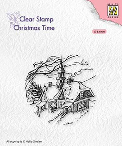 Nellie Snellen Clear Stamps Christmas Time - Snowy Christmas Scene