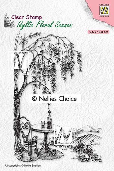 Nellie Snellen Clear Stamps Idyllic Floral Scenes - Outside seating with tree