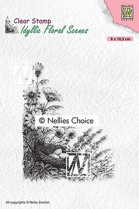 Nellie Snellen Clear Stamps Idyllic Floral Scenes - Birdnest