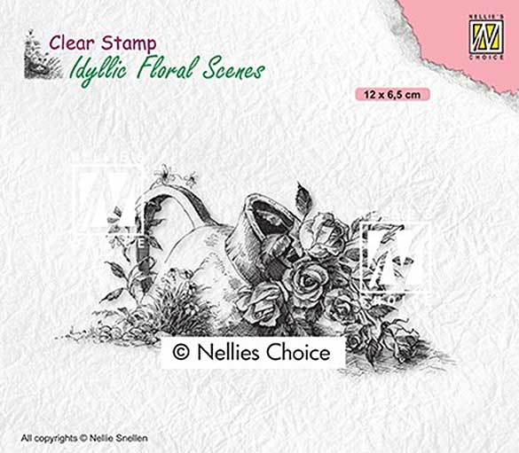 Nellie Snellen Clear Stamps Idyllic Floral Scenes - Vase with roses