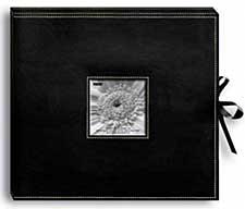 Pioneer 3-Ring Sewn Leatherette Album Box 13 x 14.5 - Black