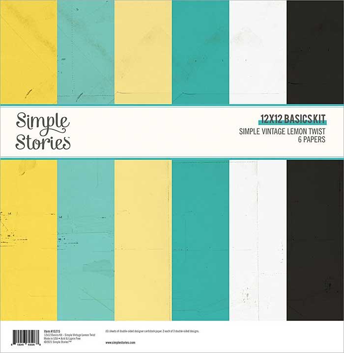 Simple Stories Basics Double-Sided Paper Pack 12X12 6Pkg - Simple Vintage Lemon Twist