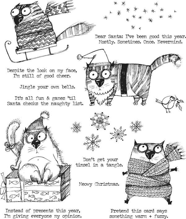 Tim Holtz Cling Stamps - Snarky Cat Christmas