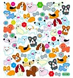 Sticker King Multicolored Stickers - Dogs With Flowers