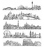 SO: Tim Holtz Cling Rubber Stamp Set 7x8.5 - Cityscapes