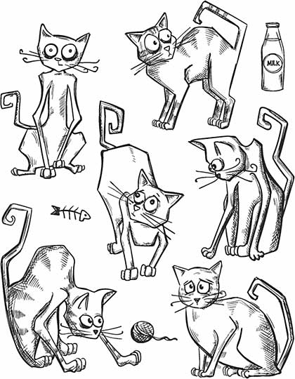 SO: Tim Holtz Cling Stamps 7x8.5 - Crazy Cats