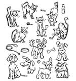 Crazy Cats and Dogs MINI - Tim Holtz Cling Rubber Stamp Set