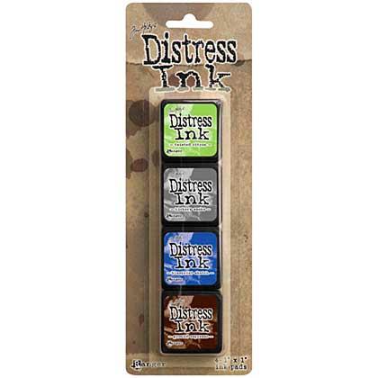 SO: Tim Holtz Mini Distress Ink Pad Kit #14 (Twisted Citron - Hickory Smoke - Blueprint Sketch - Ground Espresso)