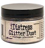 Tim Holtz Distress Glitter Dust .5g - Vintage Platinum