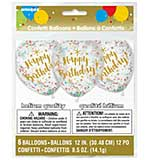 SO: Printed Balloons 12 inc Round - Happy Birthday Gold with Assorted Confetti (6pk)