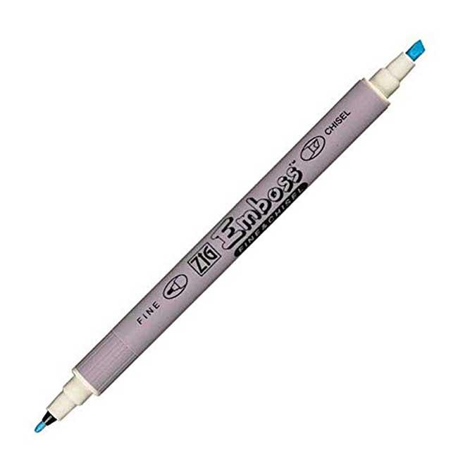 Zig Emboss Twin Tip Embossing Marker Pen Fine & Chisel, Clear Ink