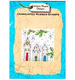 Lindsay Mason Unmounted Rubber Stamp - CHRISTMAS VILLAGE COLLAGE