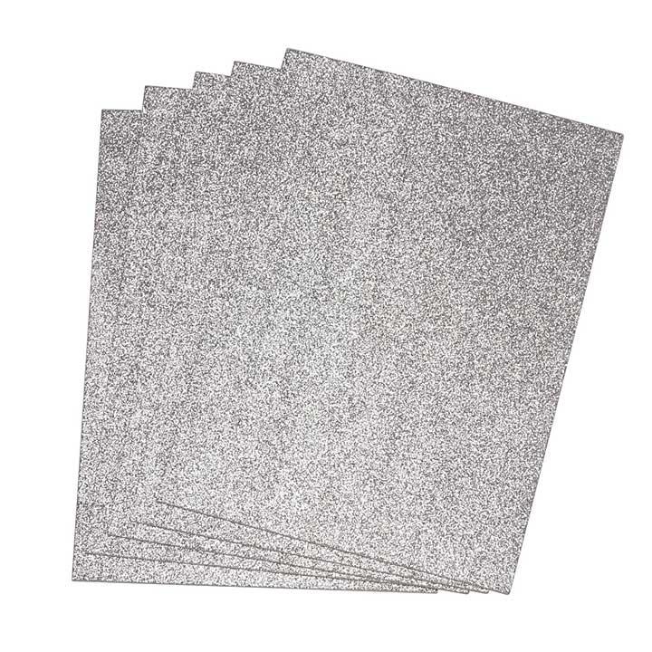 EVA Fun Craft Foam Sheets - Silver Glitter (2mm 22x30cm 5pk)