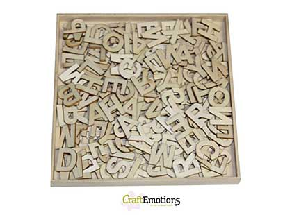 SO: CraftEmotions Wooden Alphabet Basic Bold Uppercase Large (250 pcs - in wooden ornament  box 168 x 168mm)