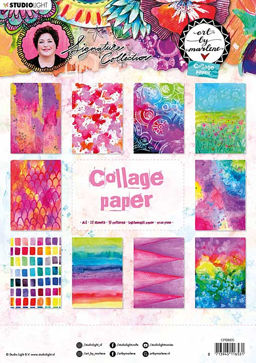 SO: Art By Marlene - Collage Paper #05, (A4, 20pk, 10 Designs, 2 each)