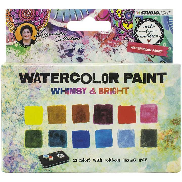 Art By Marlene - Watercolor Painting Set 12pk - Whimsy and Bright (with Tray)