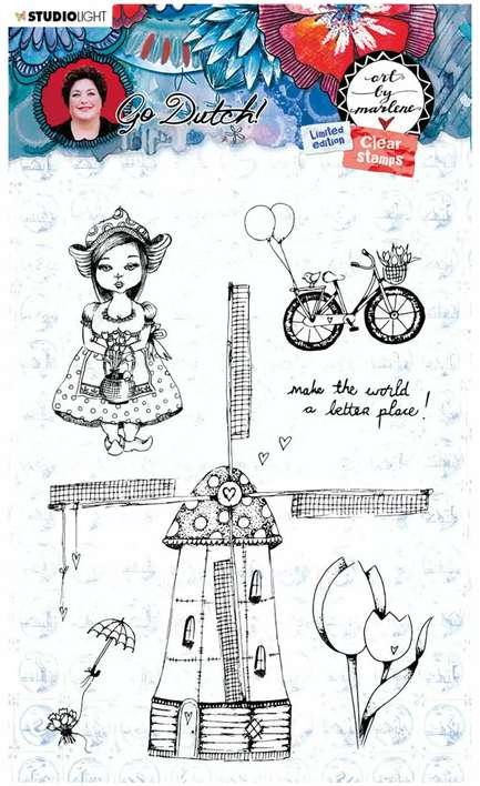 Studio Light - Art By Marlene - Windmill, Go Dutch, Limited Edition Clear Stamps #55