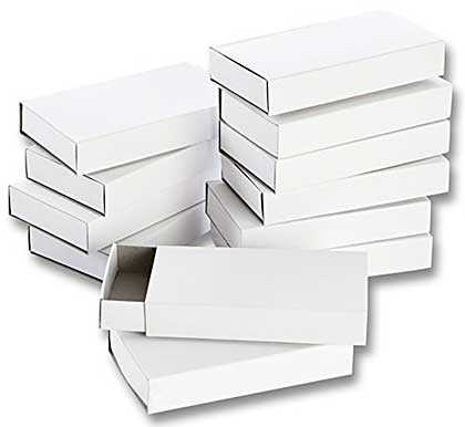 SO: Folia Large Plain White Blank Matchboxes (12pk)